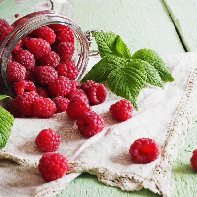 """ripe raspberries in a glass jar"" stock image"
