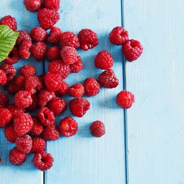 """Ripe tasty raspberries"" stock image"