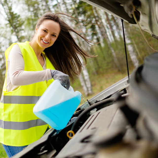 """Woman adding washing fluid on a roadside"" stock image"