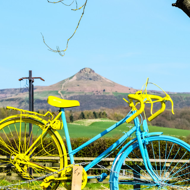 """Tour de Yorkshire 2016 painted bike frames Rosebery Topping (upright)"" stock image"