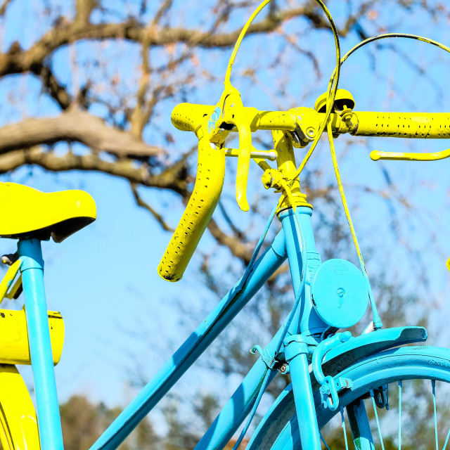 """Tour de Yorkshire 2016 painted bike close up with tree in background"" stock image"