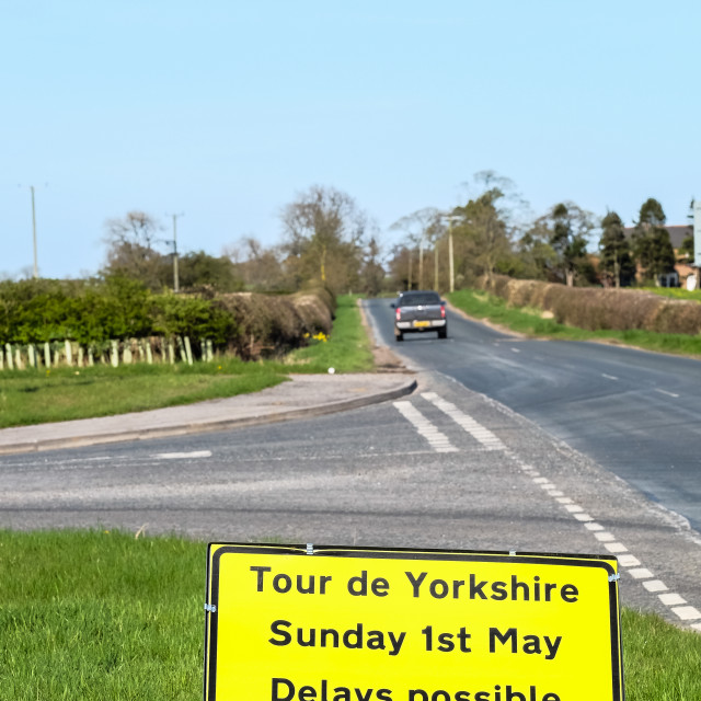 """Tour de Yorkshire 2016 road closure sign with truck on road 3 (upright)"" stock image"