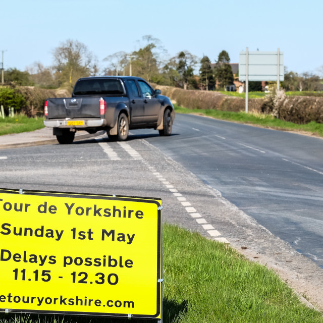 """Tour de Yorkshire 2016 road closure sign with truck on road 1"" stock image"