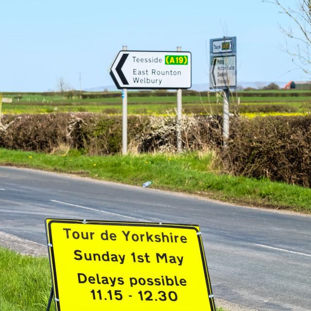 """Tour de Yorkshire 2016 road closure sign upright"" stock image"