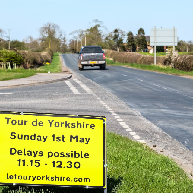 """Tour de Yorkshire 2016 road closure sign with truck on road 2"" stock image"