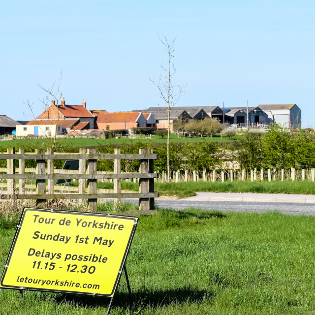 """Tour de Yorkshire 2016 road closure sign with farm in background"" stock image"