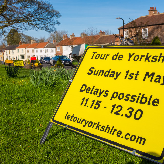 """Tour de Yorkshire 2016 sign in village of Hutton Rudby 1"" stock image"