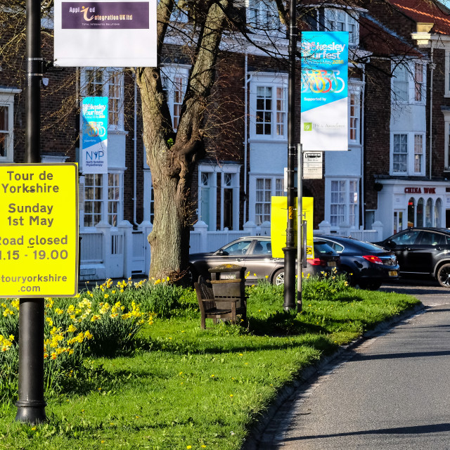 """Tour de Yorkshire 2016 signage in the North Yorkshire town of Stokesley 2"" stock image"