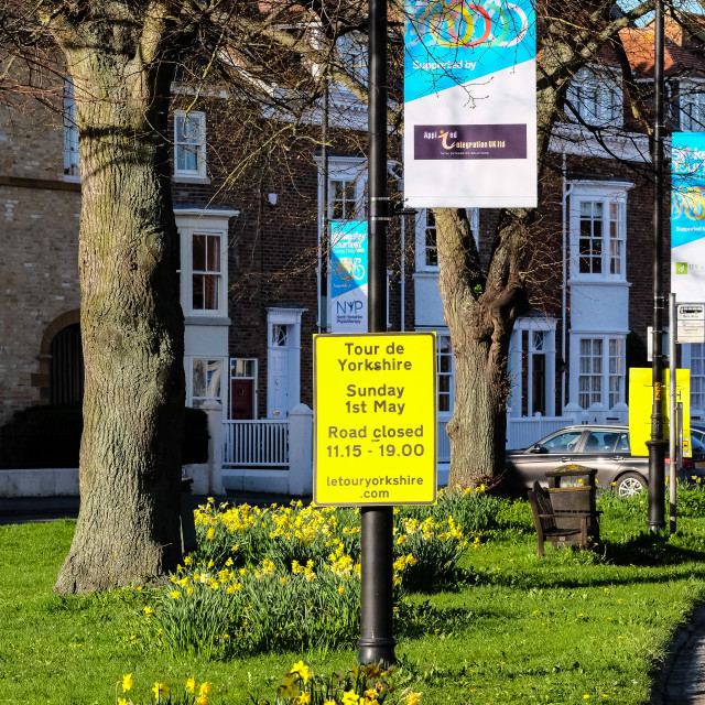 """Tour de Yorkshire 2016 signage in the North Yorkshire town of Stokesley 1"" stock image"