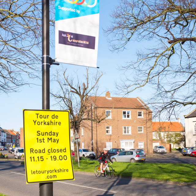 """Tour de Yorkshire 2016 signage in the North Yorkshire town of Stokesley 4"" stock image"