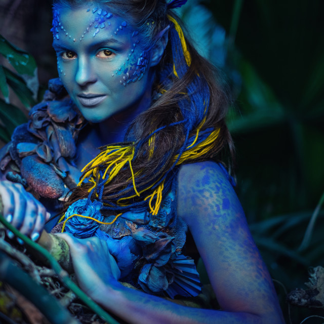 """""""Avatar woman in a magical forest"""" stock image"""
