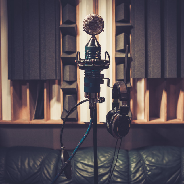 """""""Extra high definition microphone at boutique recording studio. ."""" stock image"""