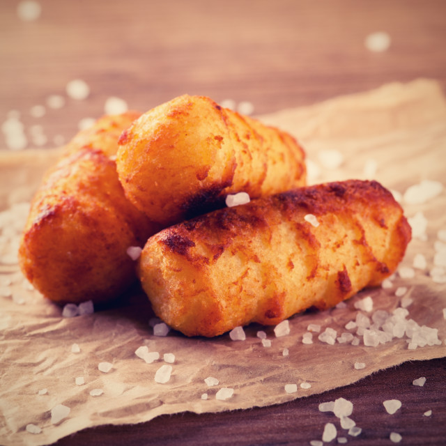 """Vintage retro photo of fried potato croquettes"" stock image"