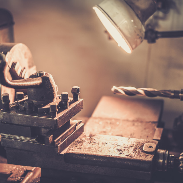 """Lathe machine in a workshop"" stock image"