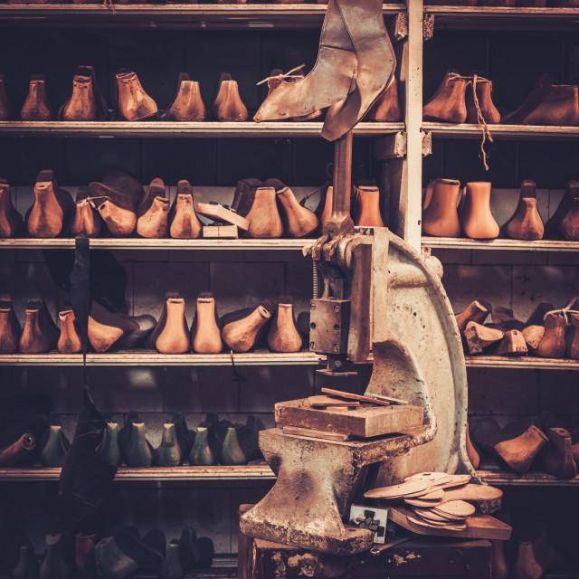 """Shoemaker studio craft professional machine."" stock image"