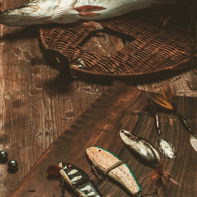 """Fishing tools and fresh pike on a wooden table"" stock image"