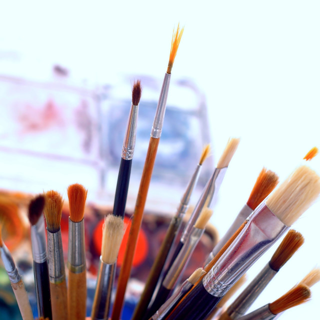 """Watercolor brushes"" stock image"