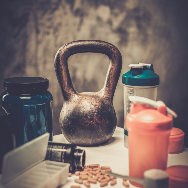 """""""Bodybuilding nutrition supplements and chemistry"""" stock image"""
