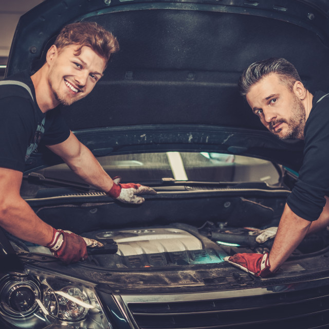 """Professional car mechanics checking under hood in auto repair service."" stock image"