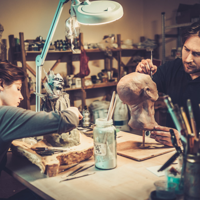 """""""People working in a prosthetic special fx workshop"""" stock image"""