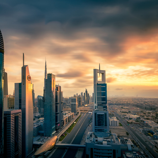 """Dubai skyline at sunset"" stock image"