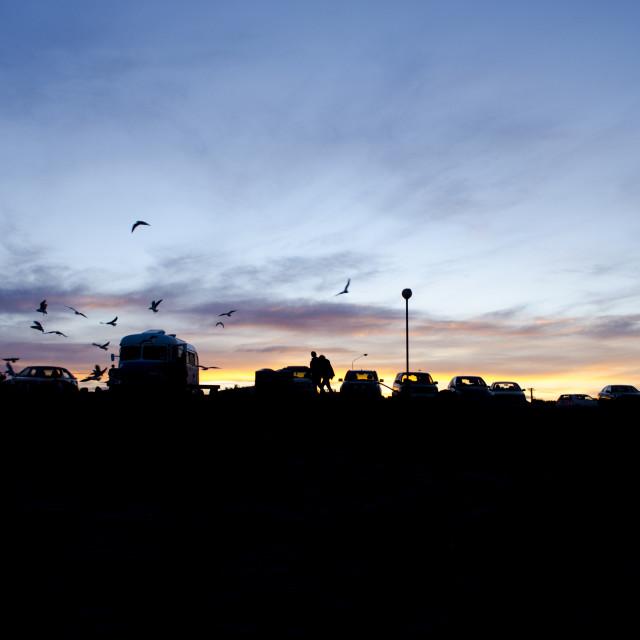"""Car Park Sunset"" stock image"