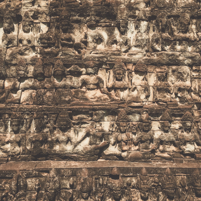 """Terrace of the Leper King relief, Siem Reap, Cambodia"" stock image"