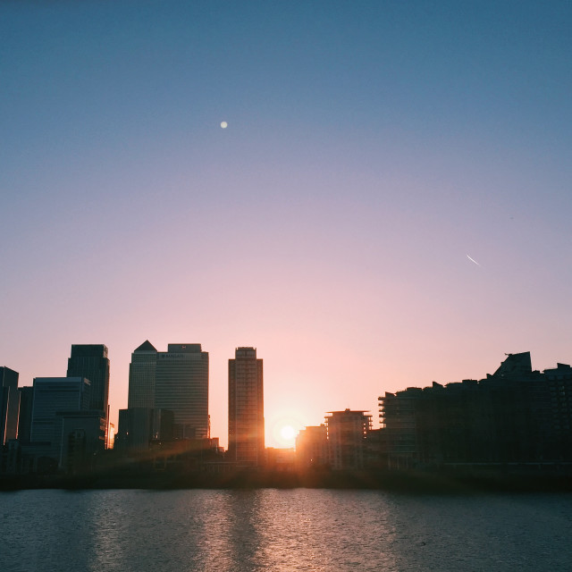 """Canary Wharf Sunset"" stock image"