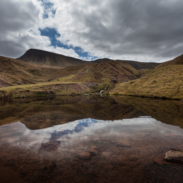 """Llyn y Fan Fach Reflection"" stock image"