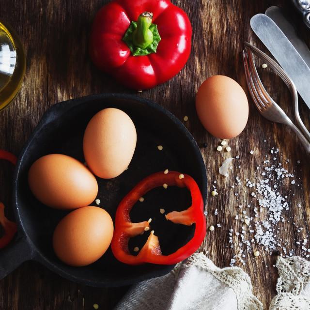 """""""Fresh eggs for omelet"""" stock image"""
