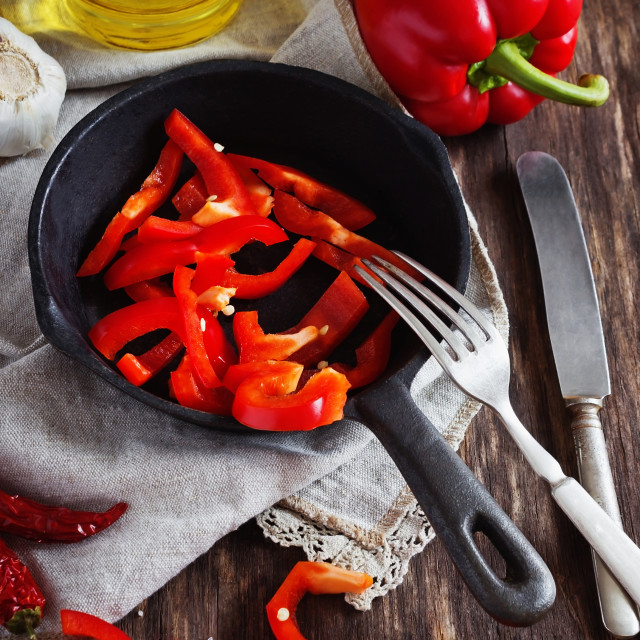 """""""Slices of red paprika"""" stock image"""