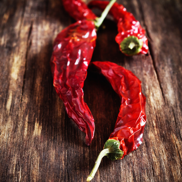 """Dried red hot chili peppers"" stock image"