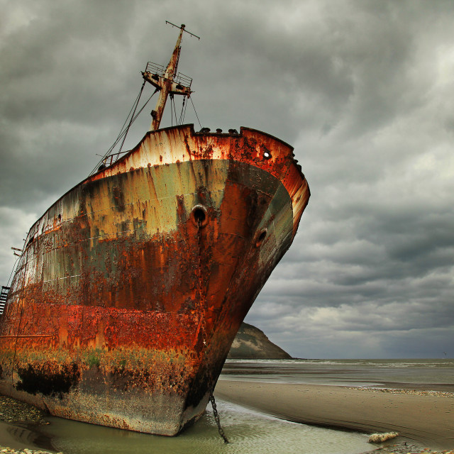 """""""Abandoned and rusty shipwreck in Argentina"""" stock image"""