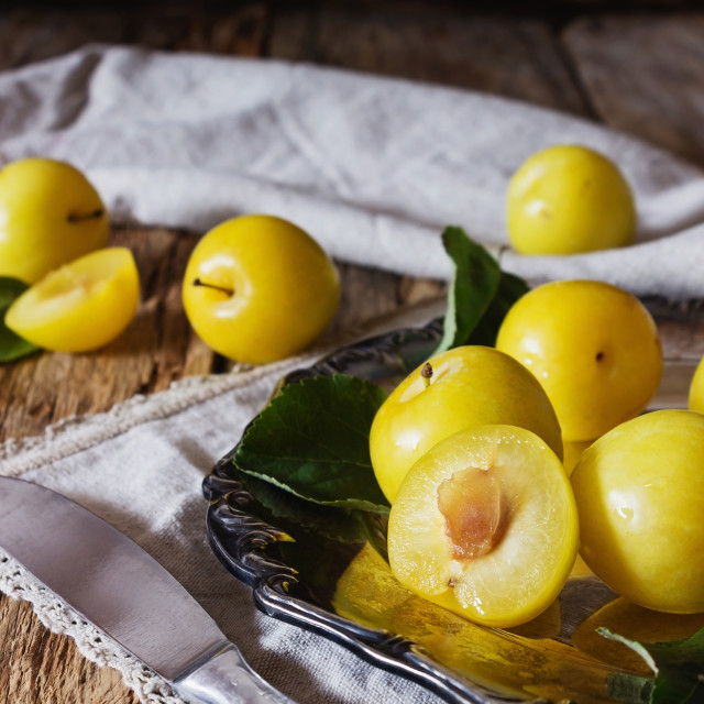 """Ripe yellow plum"" stock image"