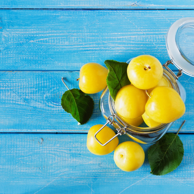 """Ripe yellow plums in a glass jar"" stock image"