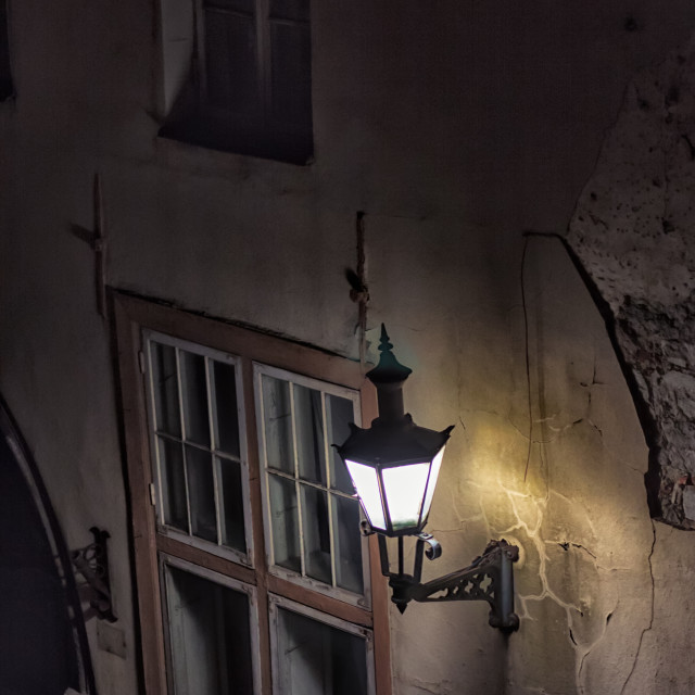 """Old Lantern On The Wall"" stock image"