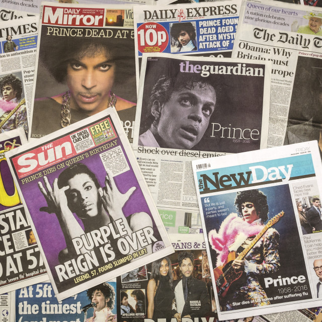 """""""British Newspaper Front Pages following the Death of Prince"""" stock image"""