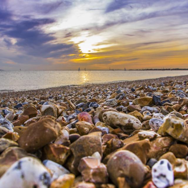 """Sunset pebbles"" stock image"