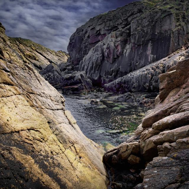 """Eastern Scotland - Rocky coast"" stock image"
