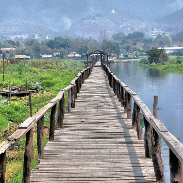 """Bridge on Inle Lake"" stock image"