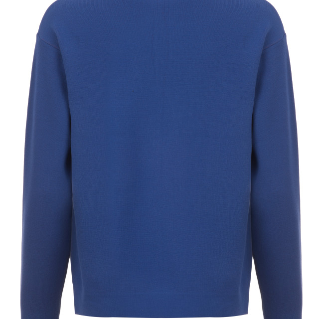 """""""Rear Cut-out of Blue Long-Sleeved Shirt on Invisible Mannequin"""" stock image"""