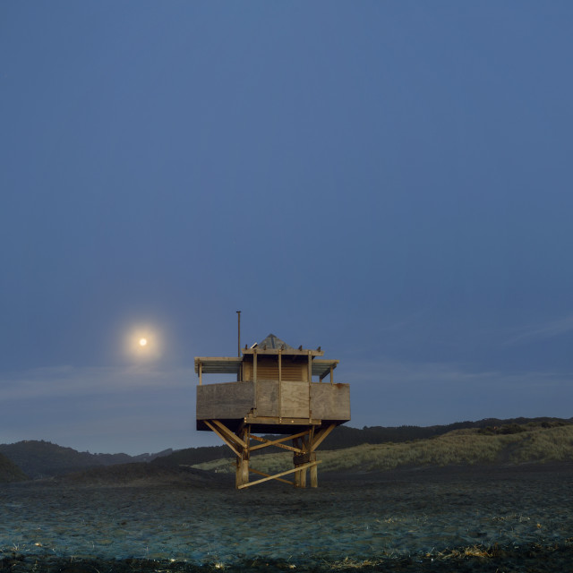 """Under the moon ... Bethells Beach New Zealand"" stock image"