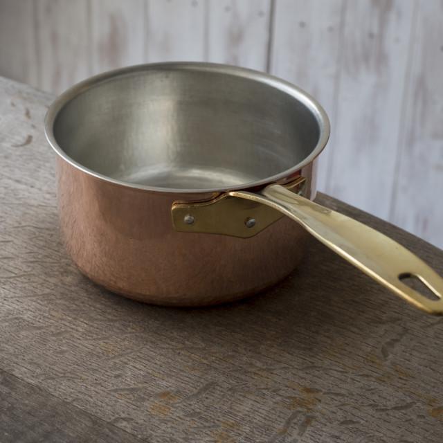 """An Empty Copper Saucepan"" stock image"
