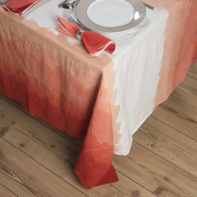 """Set Dinnerware on Table with Gradient Orange Zigzag Design Tablecloth"" stock image"