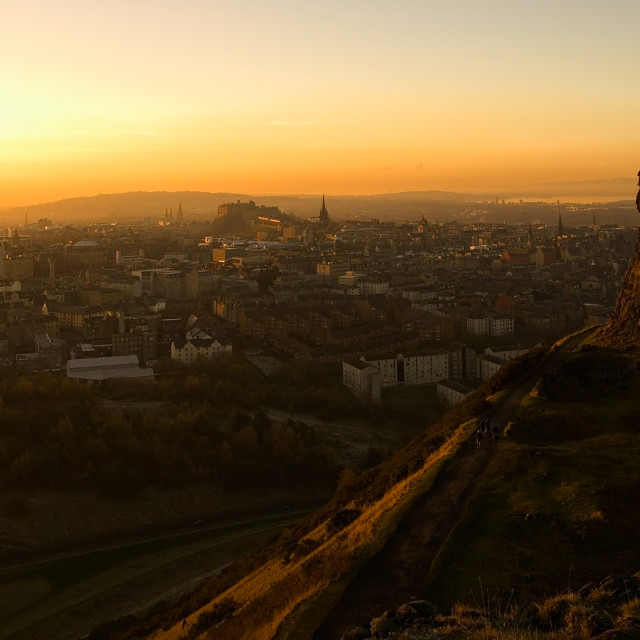"""Edinburgh Skyline Sunset"" stock image"