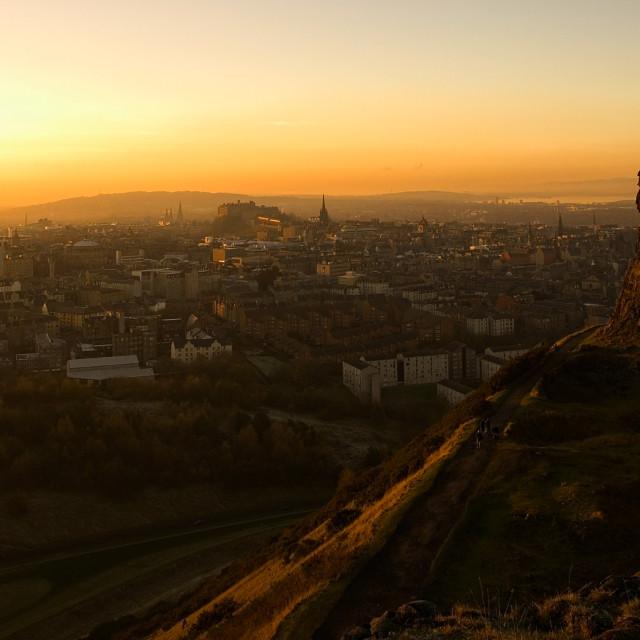 """Edinburgh Skyline Sunset"" stock image"