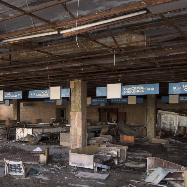 """""""Supermarket in town square, Pripyat, nr Chernobyl"""" stock image"""