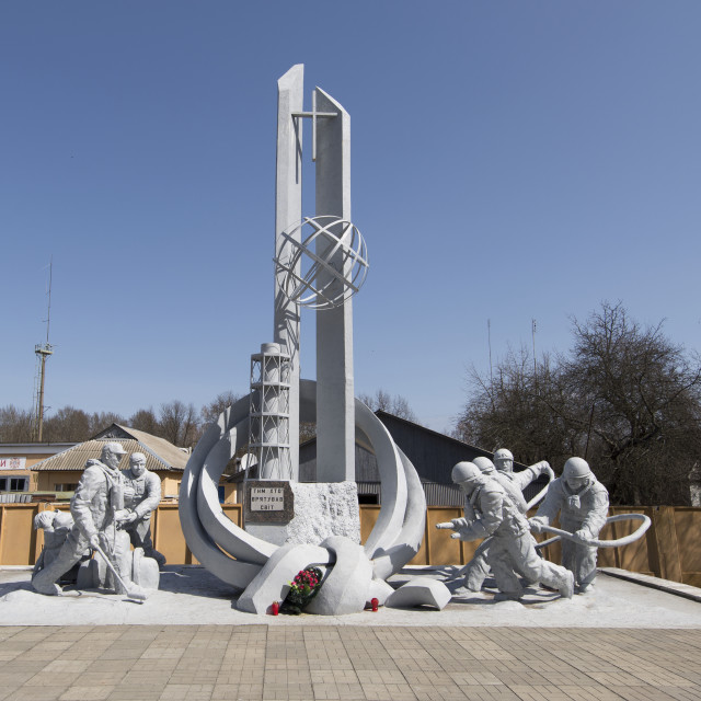 """Memorial to first responders, Chernobyl, Ukraine"" stock image"