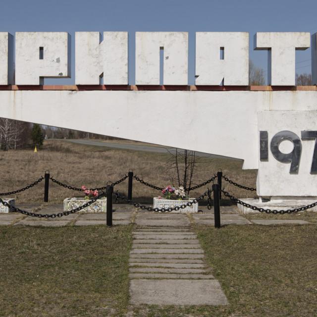 """""""Pripyat town sign"""" stock image"""
