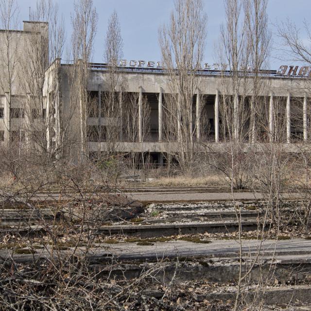 """""""Building in town square, Pripyat, nr Chernobyl"""" stock image"""